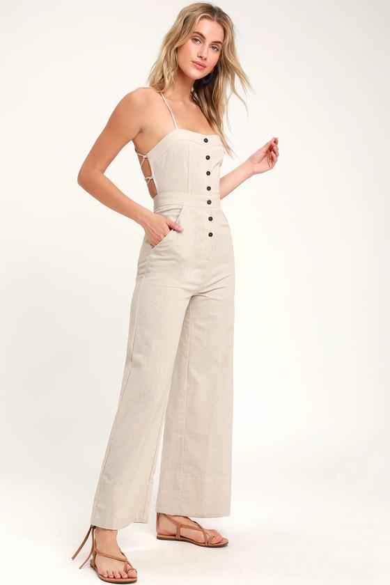 ebd68da793 Stylish Beige Jumpsuit - Lace-Up Jumpsuit - Backless Jumpsuit