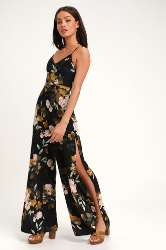 086c3780183 Beautiful Blooms Black Floral Print Wide-Leg Jumpsuit