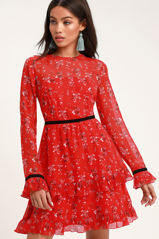 281463fb568 Floral to See Red Floral Print Long Sleeve Mini Dress