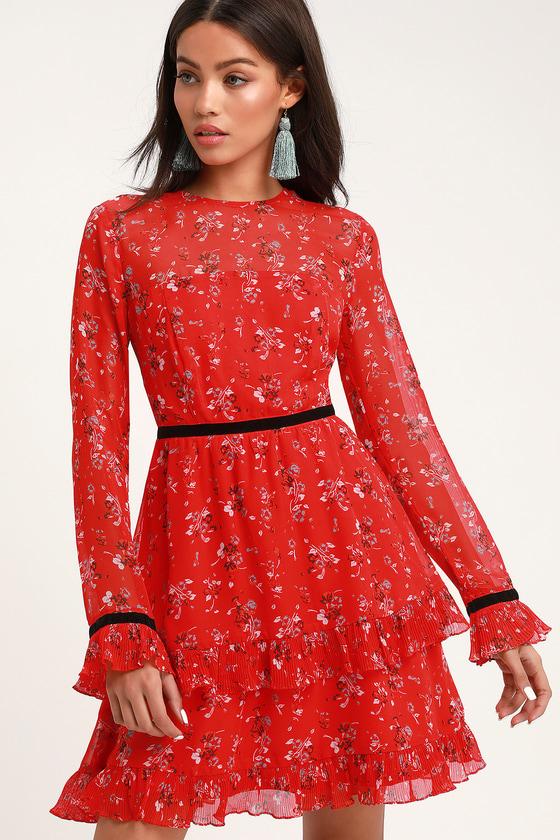 Red Satin Cocktail Dress