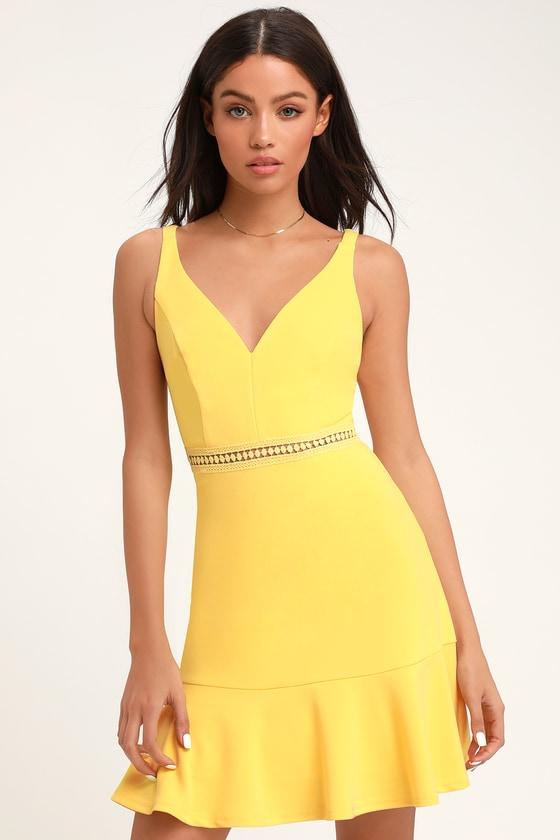 11871a2319f6 Sexy Pale Yellow Lace Dress - Crochet Lace Dress - Trumpet Dress