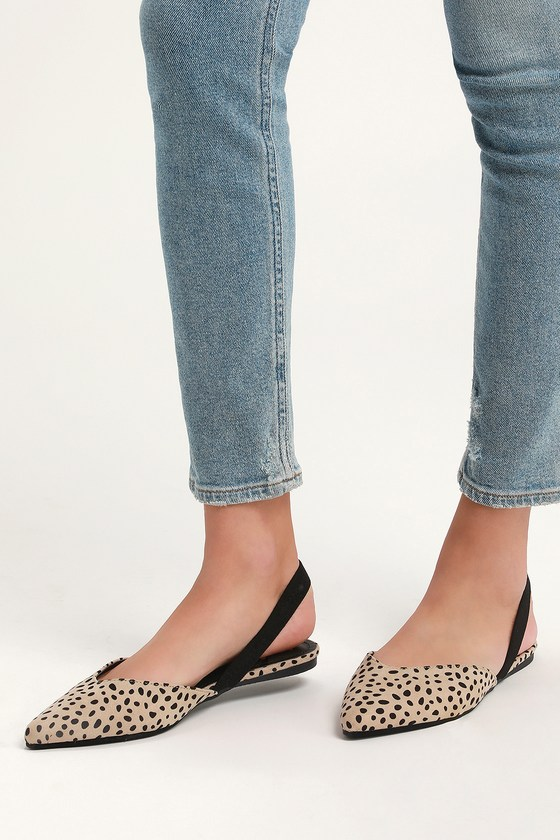 Lulus Exclusive! Step into style with the Lulus Mae Cheetah Suede Pointed-Toe Slingback Flats! These vegan suede cuties are the perfect blend of chic and sensible with their low-maintenance flat sole, comfortable black elastic slingback, and cute notched pointed-toe upper. Fit: This garment fits true to size. 0. 25\\\