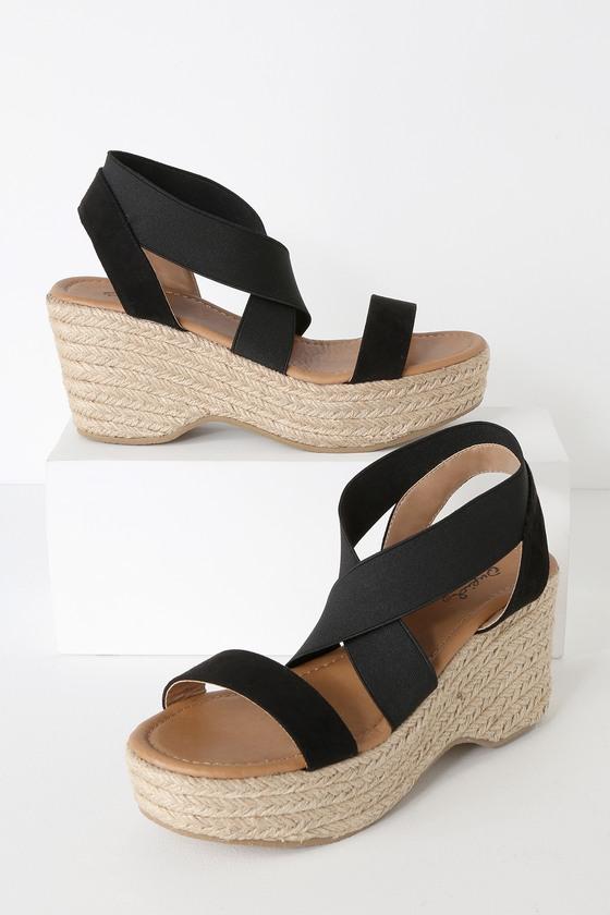 563d11488ed Cute Black Sandals - Espadrilles - Platform Espadrille Sandals