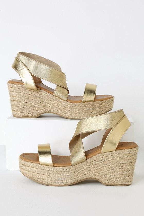 471a52ab725 Cute Gold Sandals - Espadrilles - Platform Espadrille Sandals