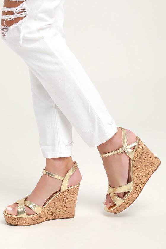 5dd772cd919 Cute Gold Sandals - Wedge Sandals - Cork Sandals - Gold Wedges