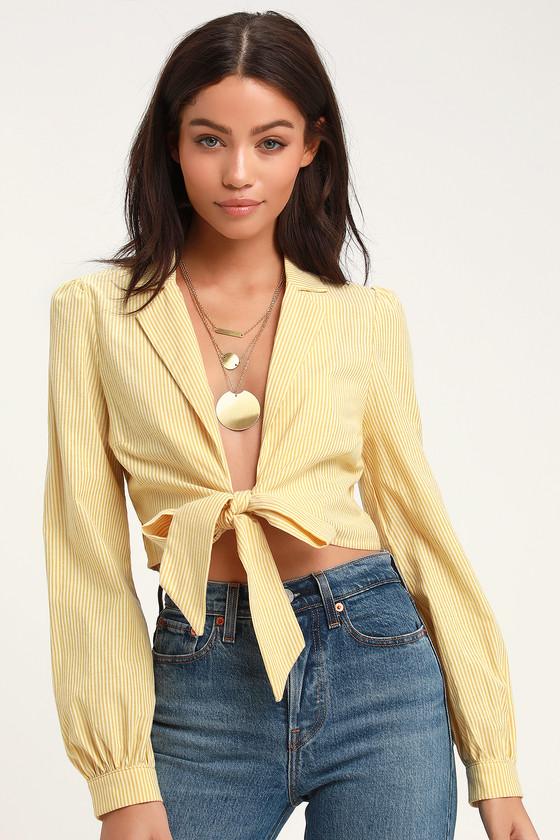217c8b940 Cute Top - Yellow Striped Top - Tie-Front Crop Top - Crop Top