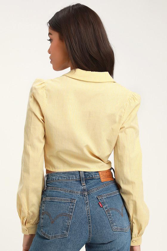 41f282e6ac31e5 Cute Top - Yellow Striped Top - Tie-Front Crop Top - Crop Top