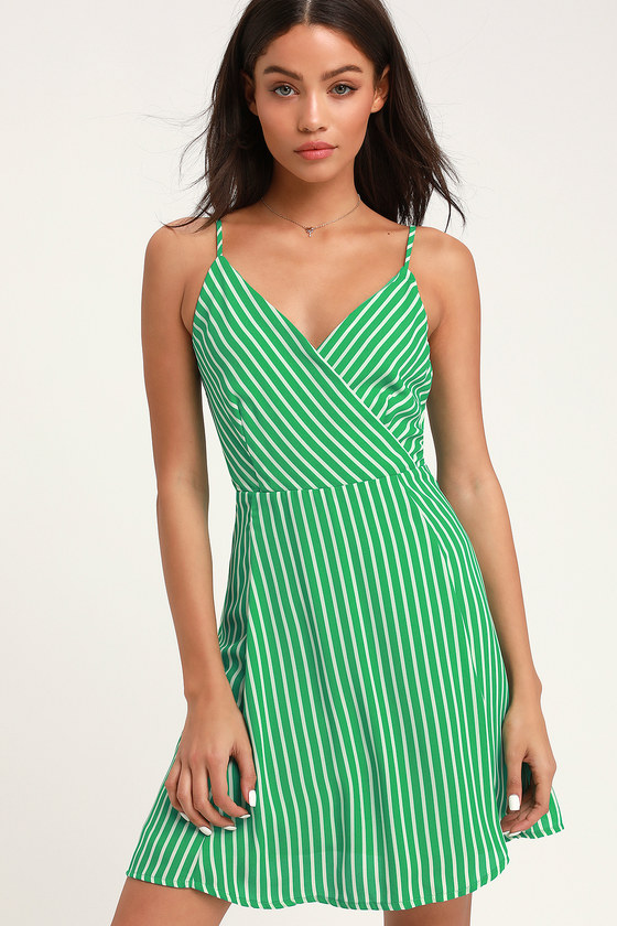 52a663999087 Cute Green Striped Dress - Green Skater Dress - Tie-Back Dress
