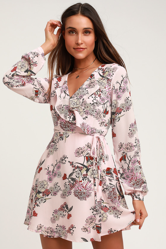 eedef799ba Pink Floral Print Dress - Long Sleeve Dress - Floral Wrap Dress