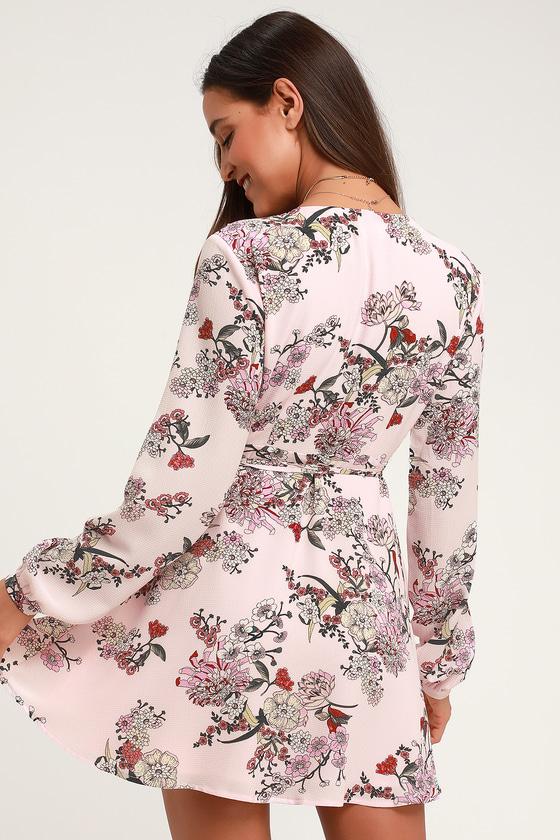 1408989fa Pink Floral Print Dress - Long Sleeve Dress - Floral Wrap Dress