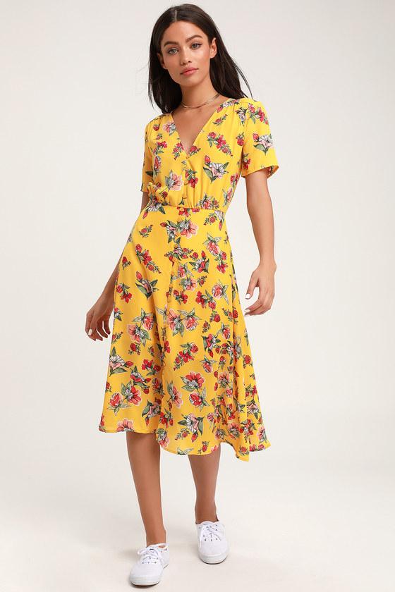 8e3b4e4263a1 Yellow Floral Print Dress - Button-Front Dress - Midi Dress