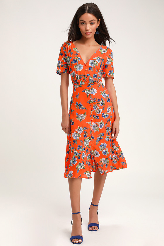 480ca245da7 Orange Floral Print Dress - Button-Front Dress - Midi Dress