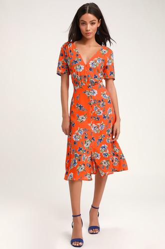 f158669f75bd Windows Down Orange Floral Print Button-Front Midi Dress