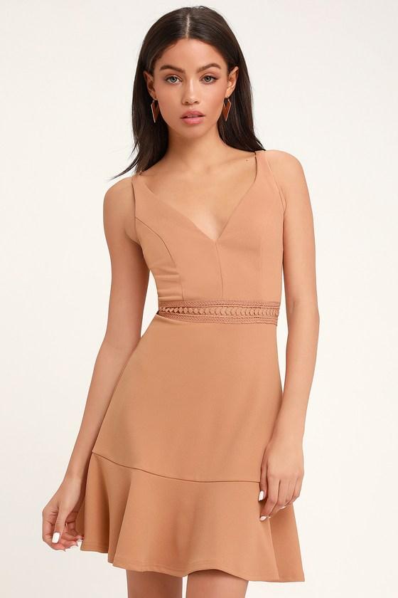 Lover Of Mine Nude Crochet Lace Mini Dress by Lulus