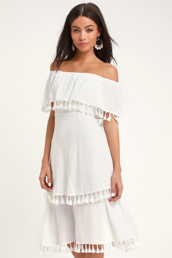 762fc9c9d44c Fun White Dress - Off-the-Shoulder Dress - Tasseled Dress - Midi