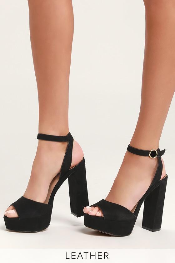 eaece78794e Madeline Black Suede Leather Platform Sandals
