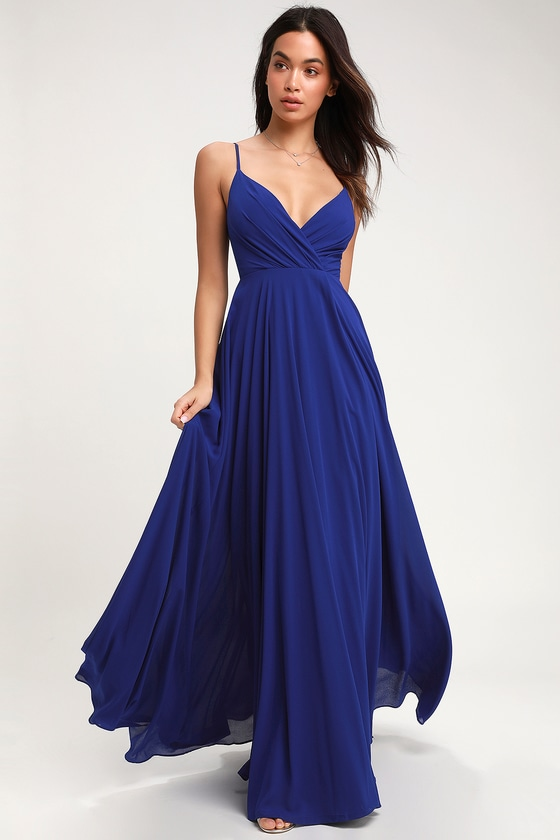 Royal blue midi dress for wedding green