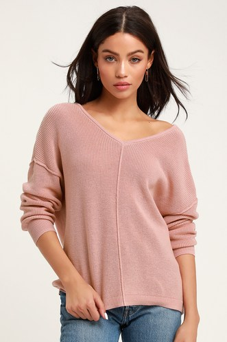 Jaslyn Dusty Rose Button Back Cardigan Sweater 88941ac7d