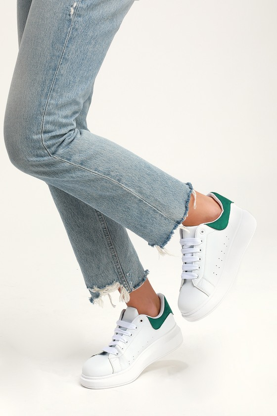 d917ef92f86 Trendy White and Green Sneakers - Platform Sneakers - Sneaks