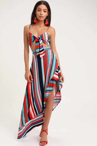 b77ca589e9a45 King Harbor Red and Blue Striped Maxi Skirt