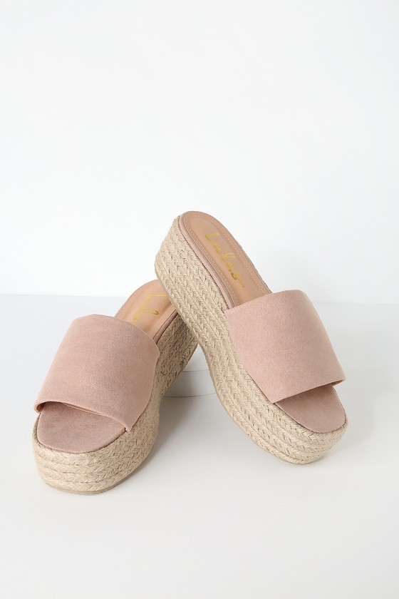 O'ahu 2 Mauve Suede Espadrille Platforms by Lulus