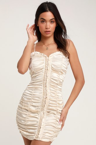 085b4b7dc1 Caught You Staring Beige Ruched Satin Bodycon Mini Dress