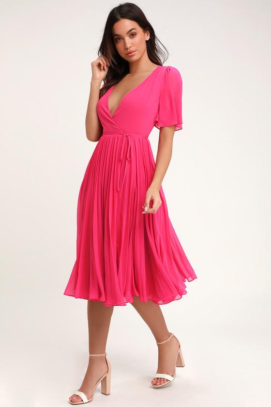 46dc7a6209d Lovely Pink Pleated Dress - Pleated Midi Dress - Midi Wrap Dress