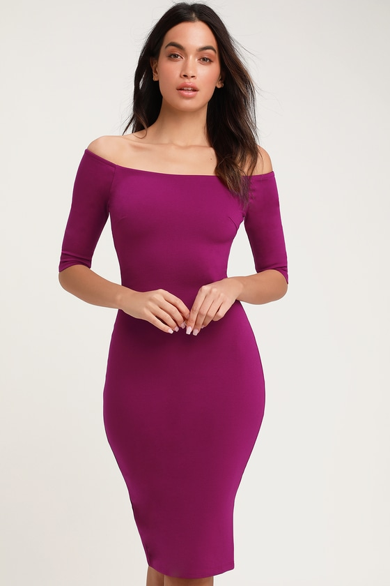 08d0bbd6e179 Chic Purple Dress - Off-the-Shoulder Dress - Purple Midi Dress