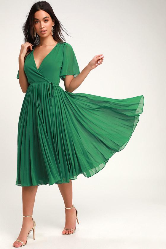 ba2b30d452c75e Lovely Green Pleated Dress - Pleated Midi Dress - Midi Wrap Dress