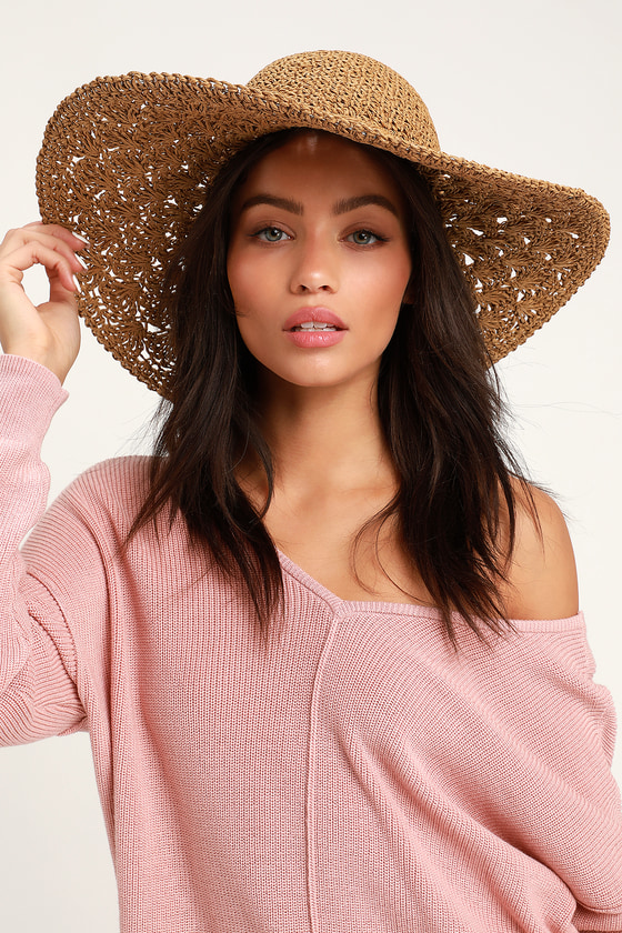 583ed87775b55 Cute Woven Floppy Brown Hat - Beach Hat - Straw Hat - Vacay Hat