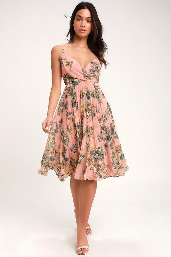 c8f7e637e78e Cute Peach Dress - Floral Print Midi Dress - Pleated Midi Dress
