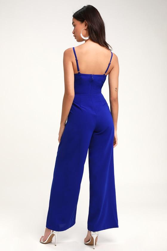 3008acf3f3b2 Breezy Royal Blue Jumpsuit - Tie-Front Jumpsuit - Blue Jumpsuit