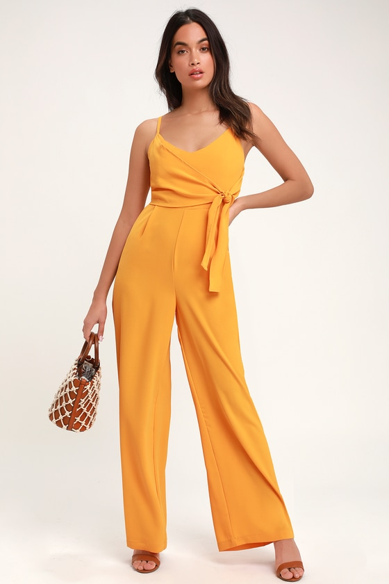 34636a5394d3 Breezy Mustard Yellow Jumpsuit - Tie-Front Jumpsuit - Jumpsuit
