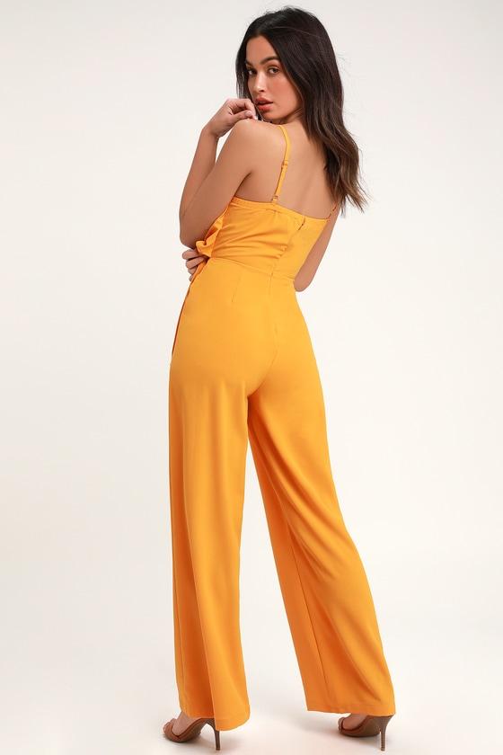 93a79b90b0bc Breezy Mustard Yellow Jumpsuit - Tie-Front Jumpsuit - Jumpsuit