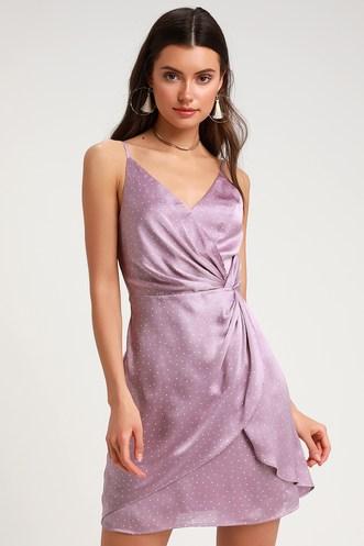 Missy Lavender Polka Dot Satin Knotted Front Mini Dress a1945e6fba51
