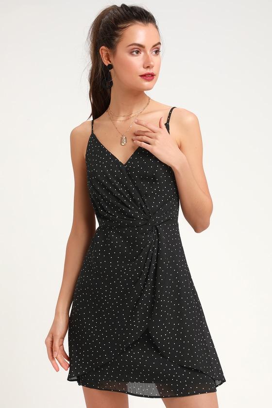 2b5f980a12f7 Cute Black Polka Dot Dress - LBD - Black Knotted Dress