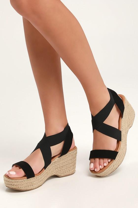 415907533a9 Cute Black Sandals - Espadrilles - Platform Espadrille Sandals