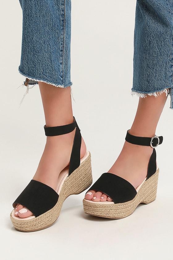 ddfdd9fb9f8 Cute Black Sandals - Espadrille Sandals - Platform Espadrilles