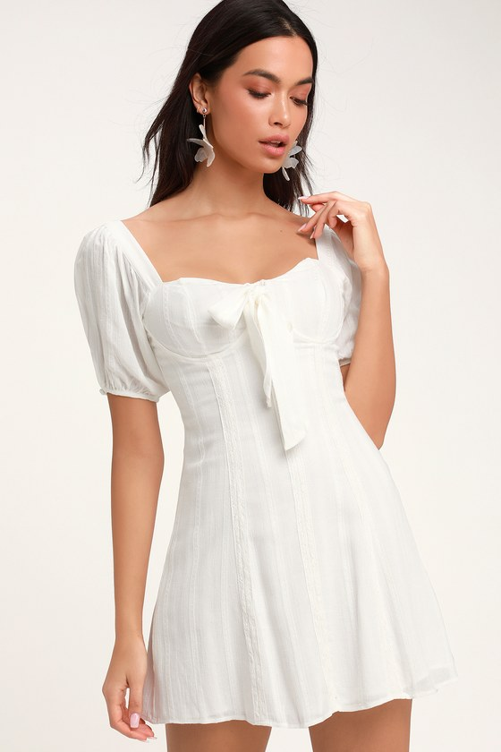 d72b20e5e2 Pretty White Puff Sleeve Dress - LWD - Bustier Dress - Mini Dress