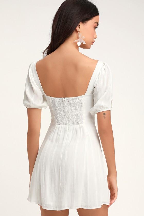5782c940948b2 Pretty White Puff Sleeve Dress - LWD - Bustier Dress - Mini Dress