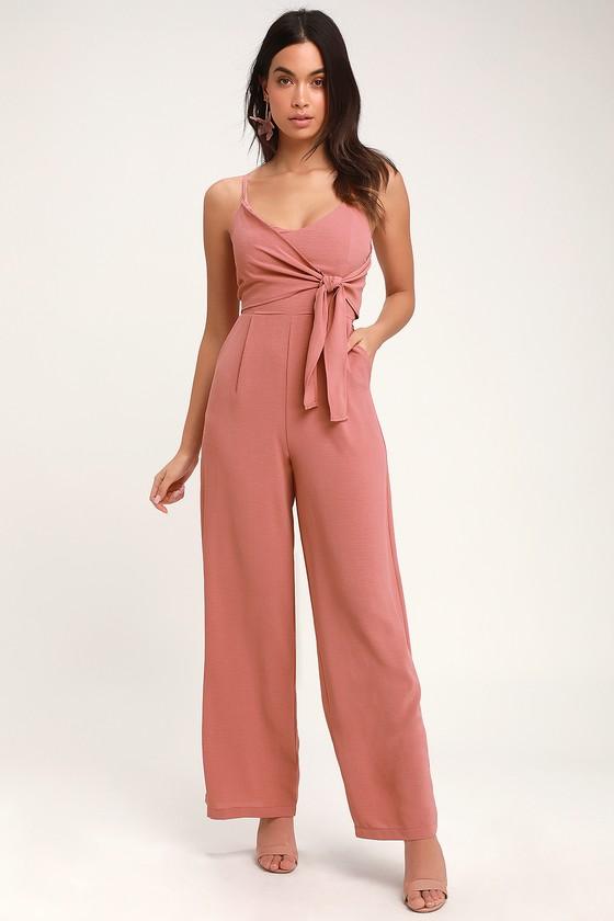 d5360f4ef21b Breezy Rusty Rose Jumpsuit - Tie-Front Jumpsuit - Pink Jumpsuit