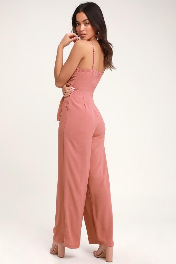 3843d8fb6fb0 Breezy Rusty Rose Jumpsuit - Tie-Front Jumpsuit - Pink Jumpsuit