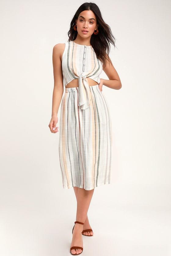 576835bdbe RVCA Arizona - White Multi Striped Midi Dress - Tie-Front Dress