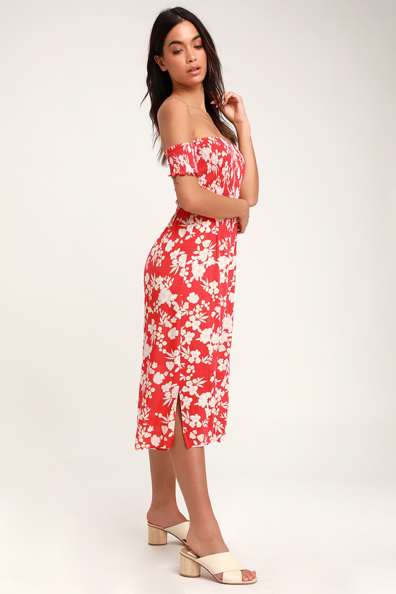 8f8ef52fcdb Cute Red Floral Print Jumpsuit - Off The Shoulder Jumpsuit