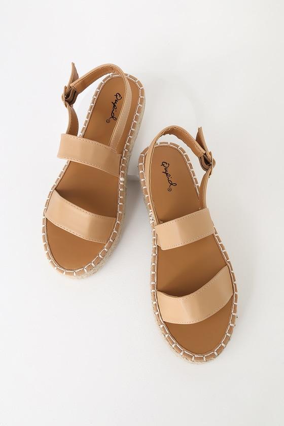 2ae2cdbf708e Cute Tan Sandals - Flatform Sandals - Espadrille Sandals