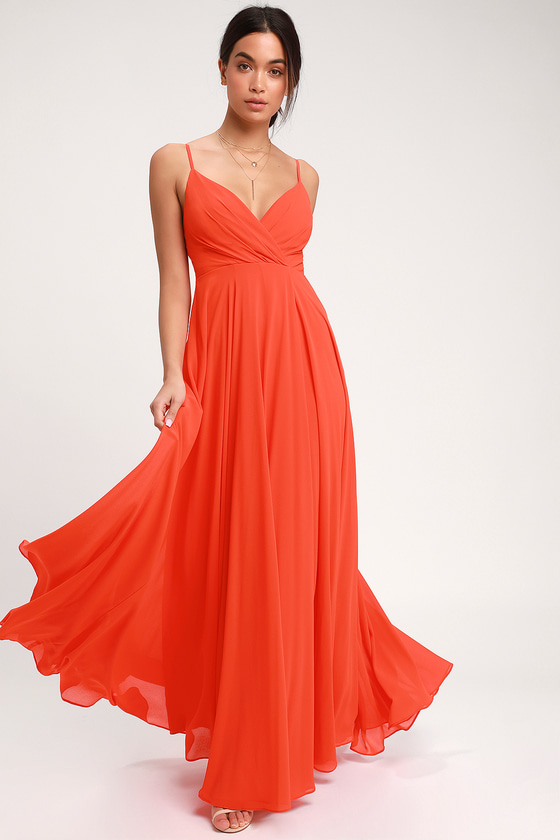 All About Love Coral Red Maxi Dress - Lulus