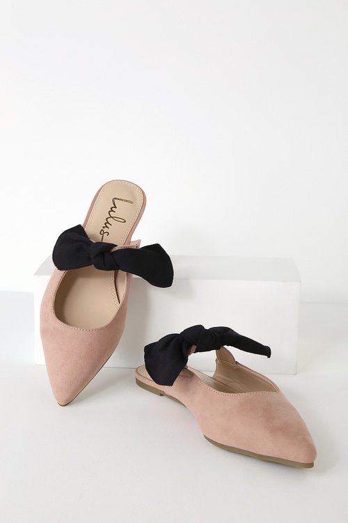 Macey Blush Suede Pointed Toe Bow Mules by Lulus