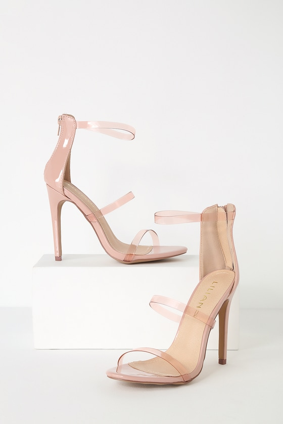 Ivanna Nude Pantent Ankle Strap Heels by Lulu's
