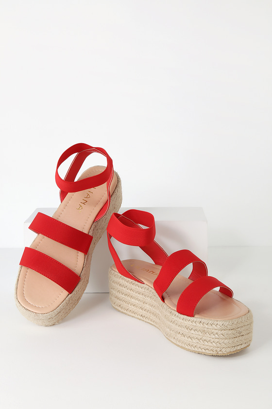 reasonable price top design special section Jessi Red Espadrille Flatform Sandals