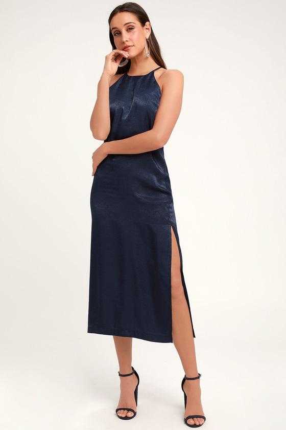 6f5d2202 Sleek Navy Blue Dress - Satin Dress - Midi Dress - Blue Sheath